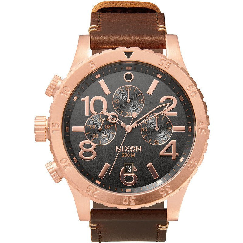 Nixon 48-20 Chrono Leather Men's Watch | Rose Gold / Gunmetal / Brown