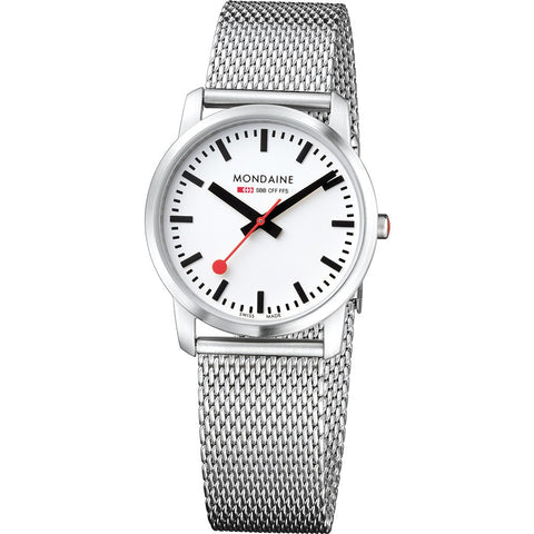 Mondaine Simply Elegant White Watch | Steel Mesh A400.30351.16SBM