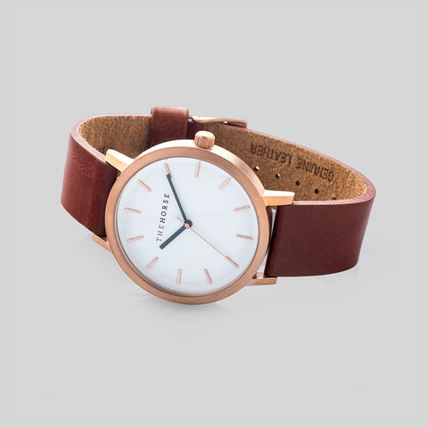 The Horse Original Brushed Rose Gold Watch | Walnut ST0123-A5