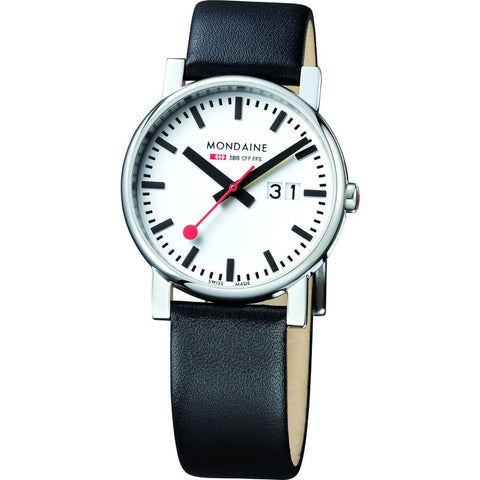 Mondaine Evo Big Date White Watch | Black Leather A627.30303.11SBB