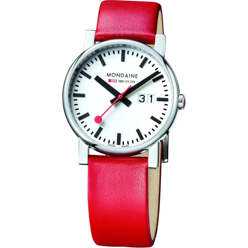 Mondaine Evo Big Date White Watch | Red Leather A627.30303.11SBC