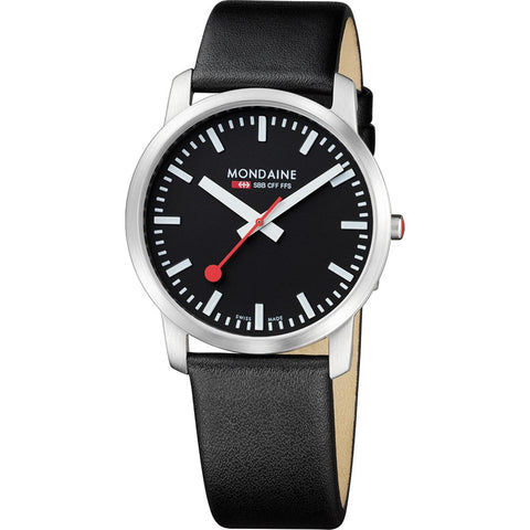 Mondaine Simply Elegant White Watch | Black Leather A638.30350.14SBB