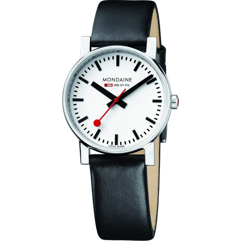 Mondaine Evo Gents 35 White Watch | Black Leather A658.30300.11SBB