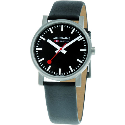 Mondaine Evo Gents 35 Black Watch | Black Leather A658.30300.14SBB