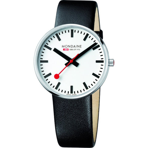 Mondaine Men's Swiss Railways Giant Watch | Black/White