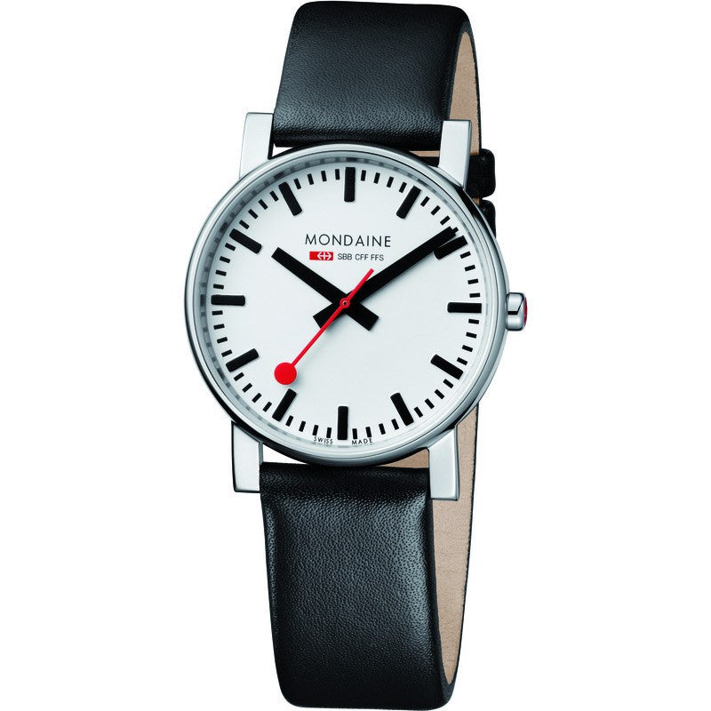Mondaine Evo Gents 38 White Watch | Black Leather