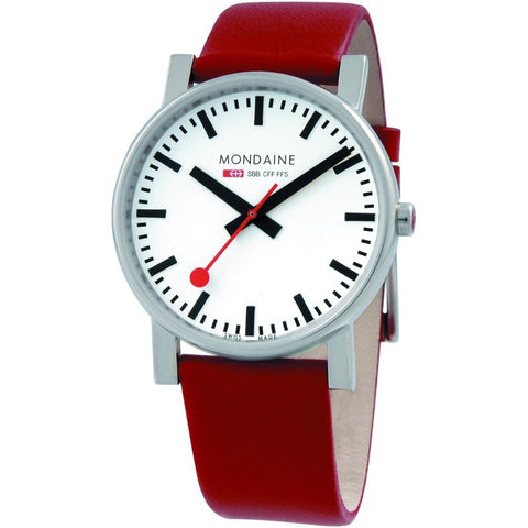 Mondaine Evo Gents 38 White Watch | Red Leather A660.30344.11SBC