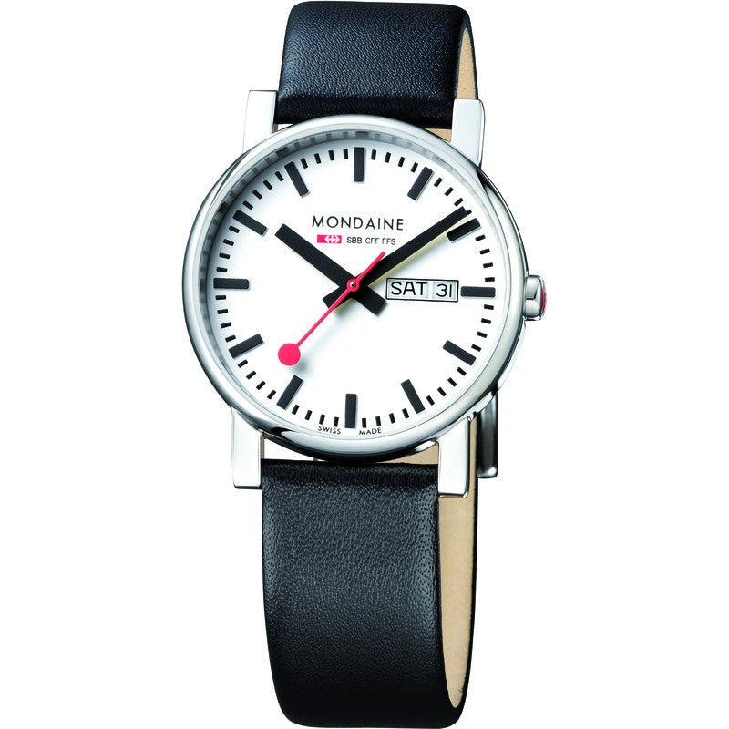 Mondaine Evo Gents 38 Day-Date White Watch | Black Leather A667.30344.11SBB