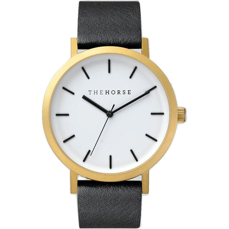 The Horse Original Brushed Gold Watch | Black ST0123-A7