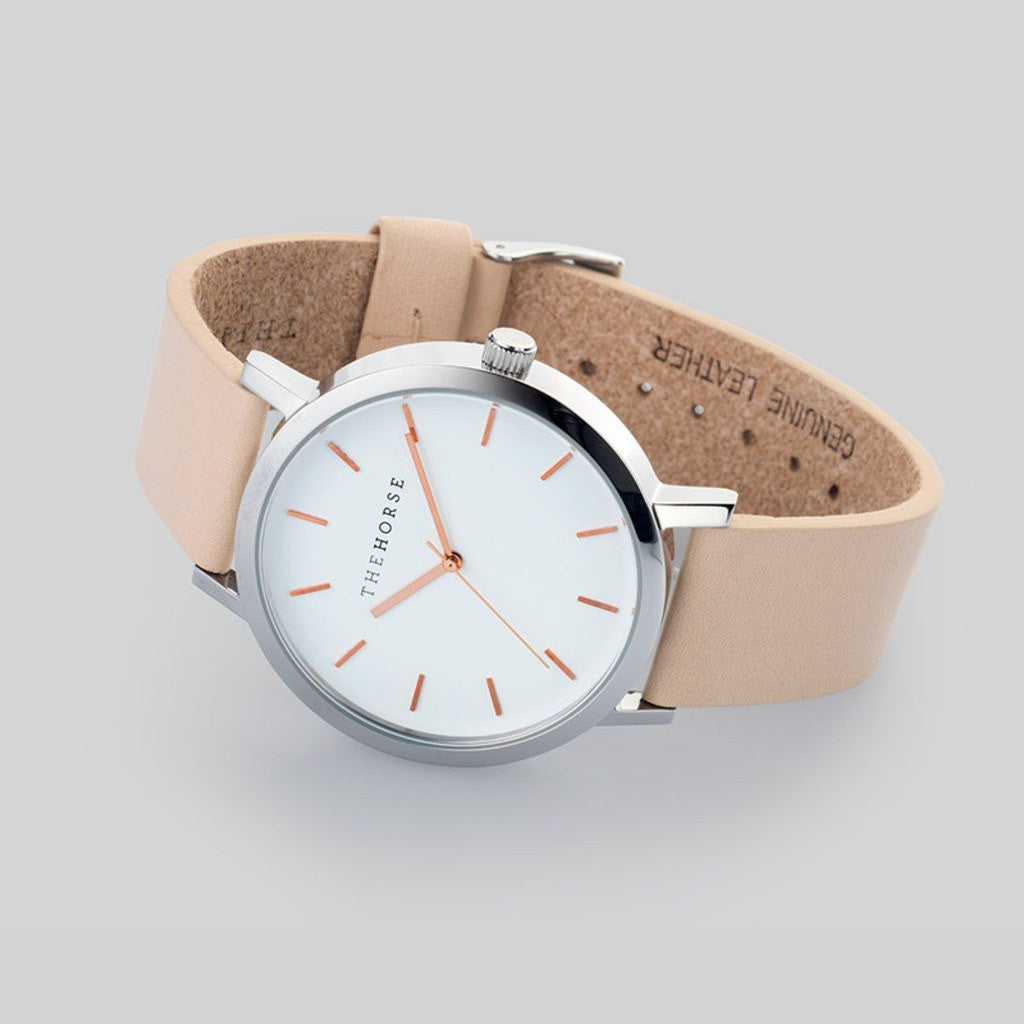 The Horse Original Polished Steel Watch | Vegetable Tan ST0123-A8