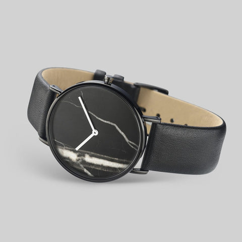 The Horse Black Stone Polished Black Watch | Black STO123-C1