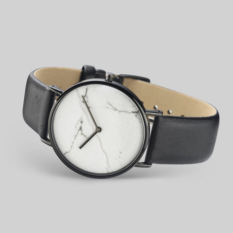 The Horse White Stone Polished Black Watch | Black STO123-C2