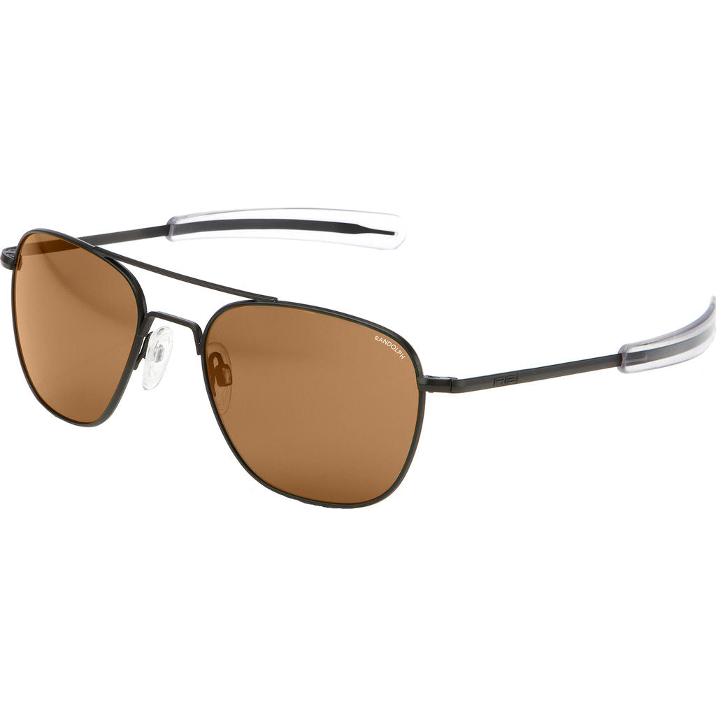 Randolph Engineering Aviator Matte Black Sunglasses | Tan Polarized Bayonet AR