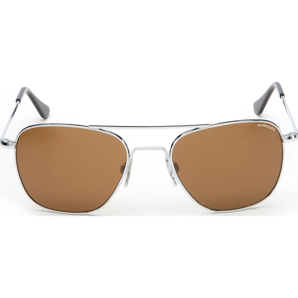 Randolph Engineering Aviator Bright Chrome | Tan Polarized Skull- Af022