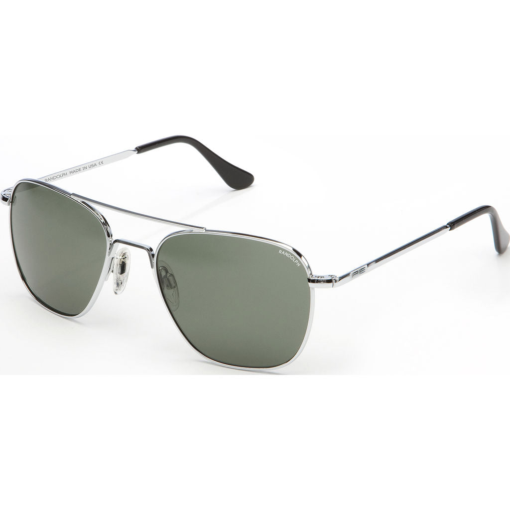 Randolph Engineering Aviator Bright Chrome Sunglasses | AGX Polarized Skull AR