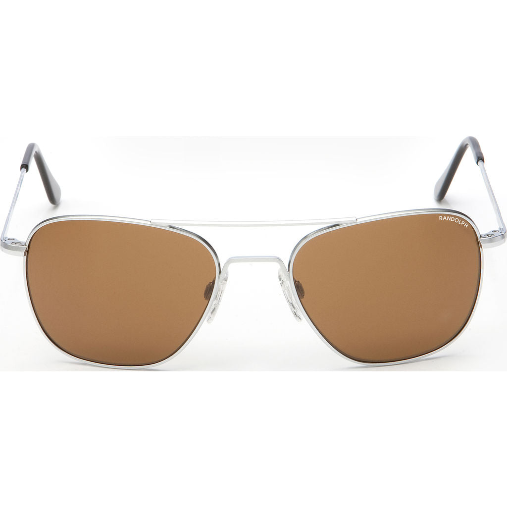 Randolph Engineering Aviator Matte Chrome | Tan Polarized Skull- Af032