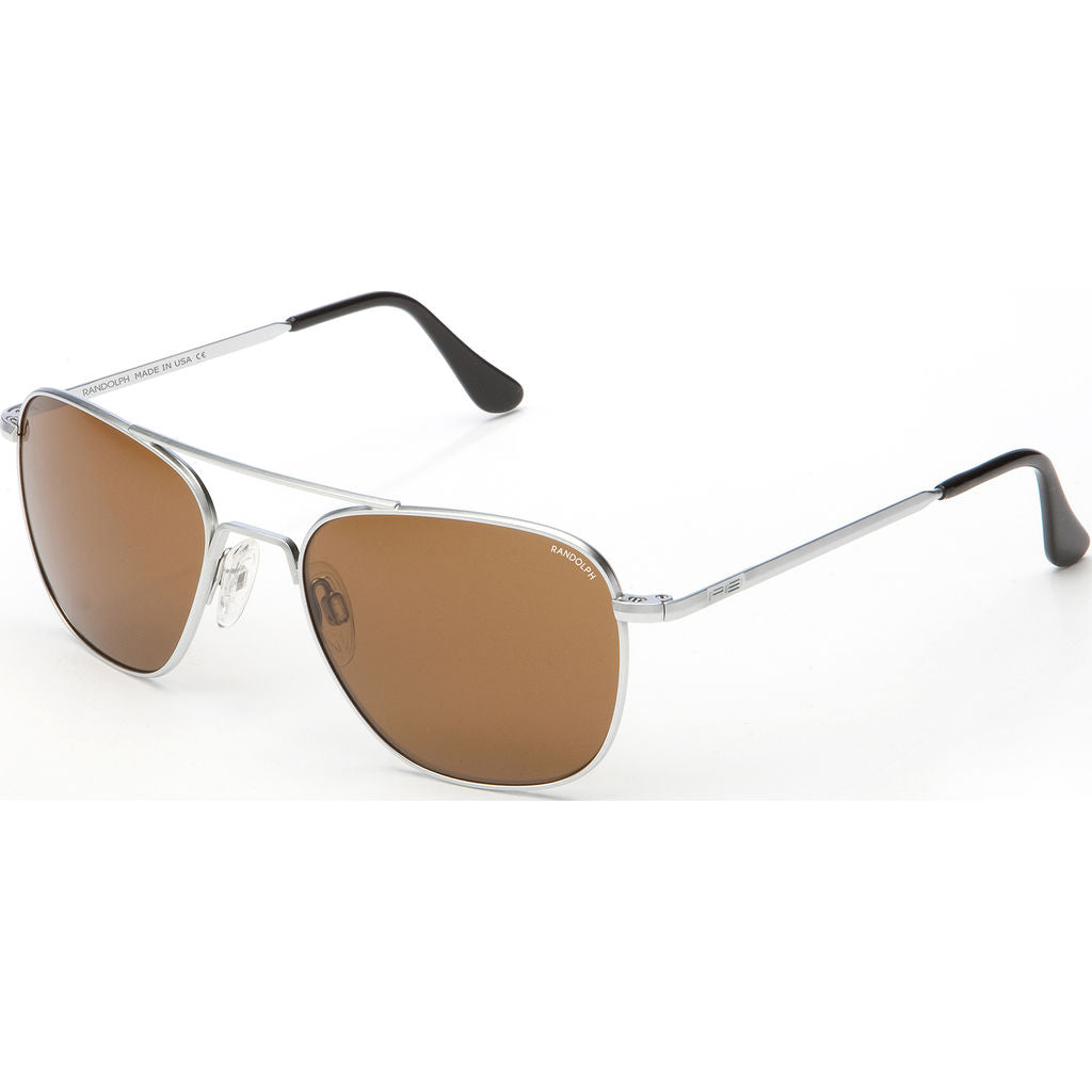 Randolph Engineering Aviator Matte Chrome Sunglasses | Tan Polarized Skull AR