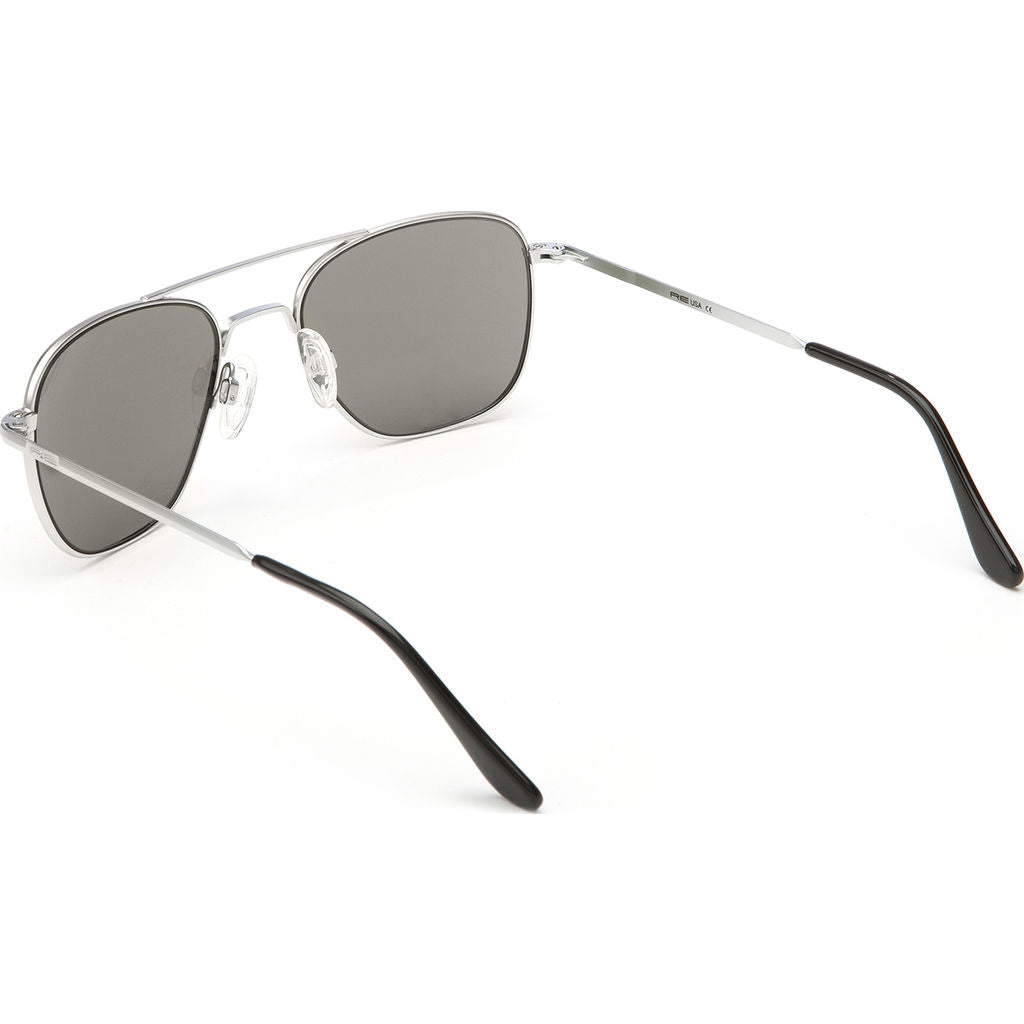 Randolph Engineering Aviator Matte Chrome Sunglasses | Gray Polarized Skull AR