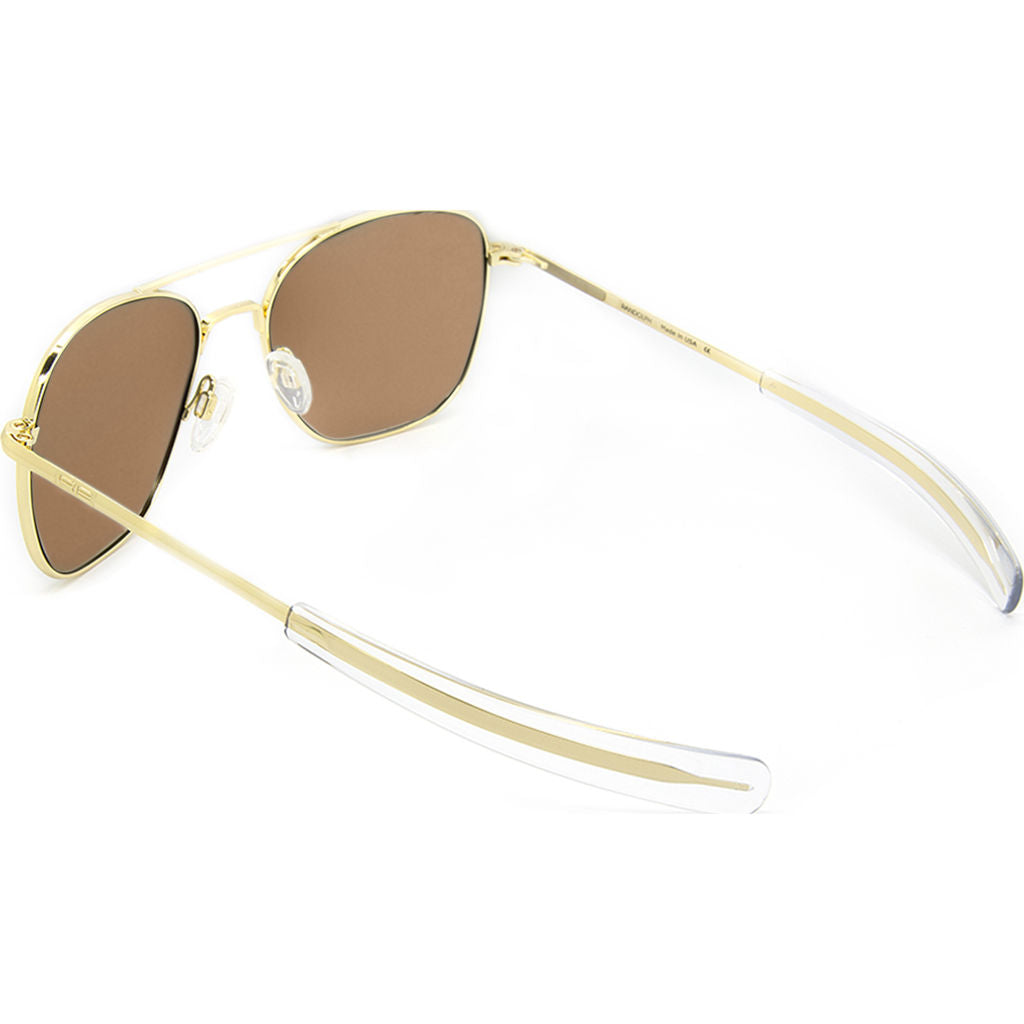Randolph Engineering Aviator 23K Gold Sunglasses | Tan Polarized Bayonet AR