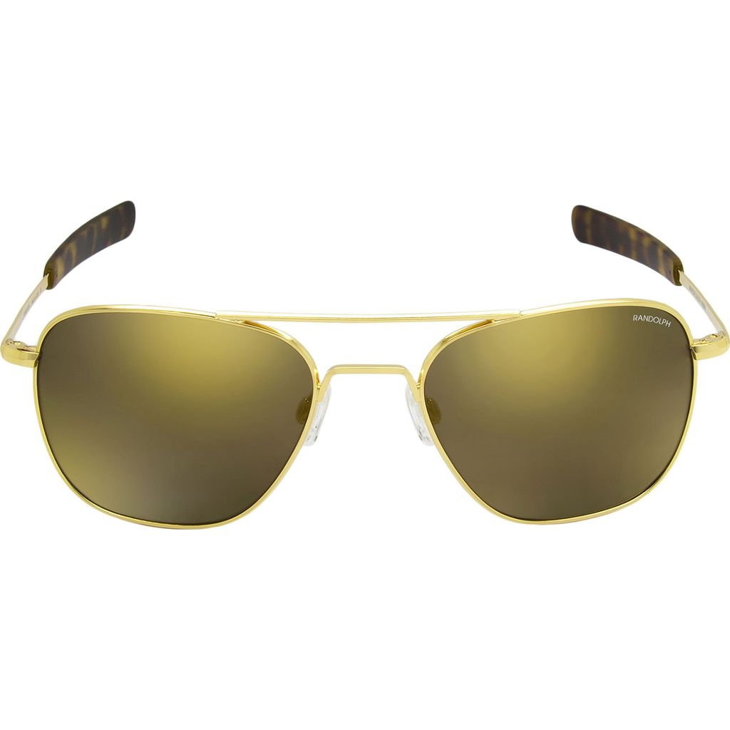 Randolph Engineering Aviator Bayonet Sunglasses | Gold 23K -Glass Gold Flash Mirror Polarized AR Af153 55mm