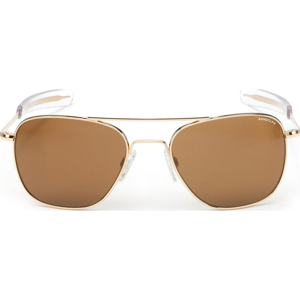 Randolph Engineering Aviator 23K Gold Plated Sunglasses | Tan PC Bayonet 52MM AF21612-PC