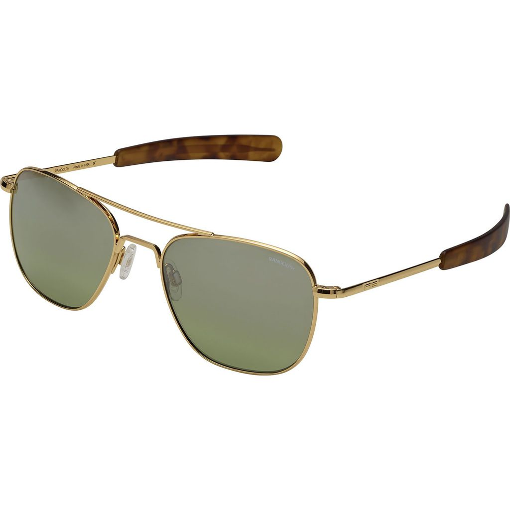 Randolph Engineering Aviator Bayonet Sunglasses | Gold 23K -Jade Metallic Af218 58mm