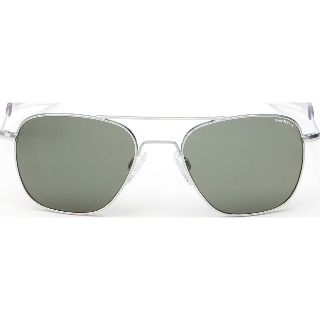 Randolph Engineering Aviator Matte Chrome Sunglasses | AGX Polarized PC Bayonet 55MM AF54633-PC