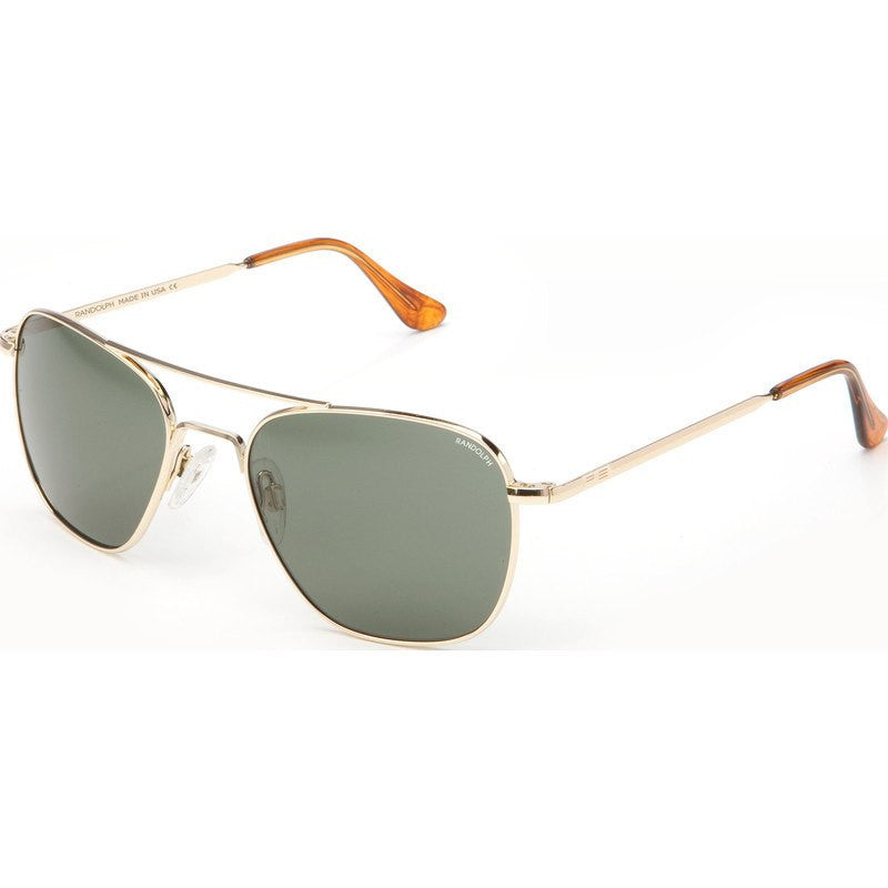 Randolph Engineering Aviator 23K Gold Plated Sunglasses | AGX Green Skull