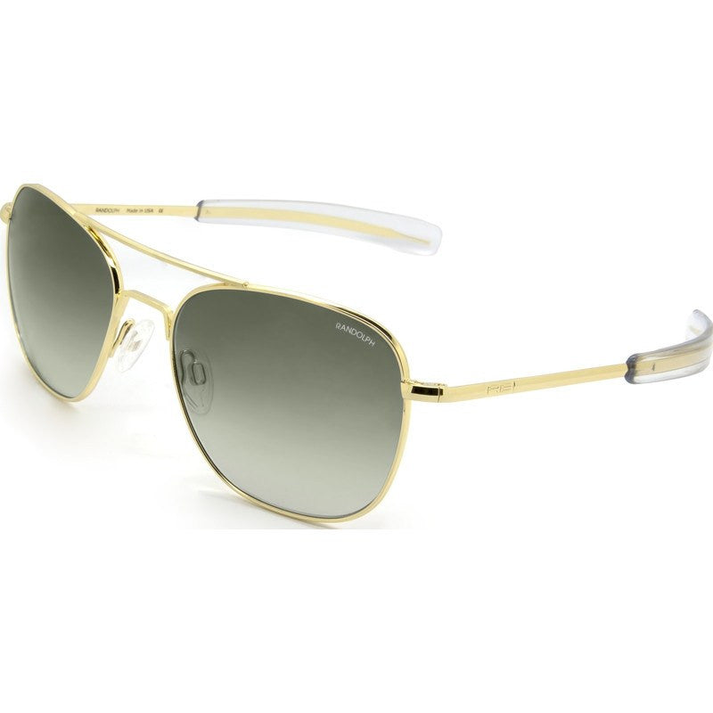 Randolph Engineering Aviator 23K Gold Plated Sunglasses | Green Gradient Bayonet