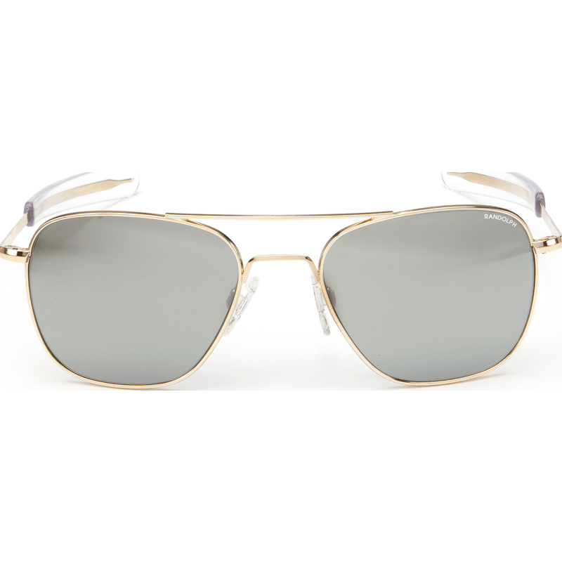 Randolph Engineering Aviator 23K Gold Plated Sunglasses | Gray Flash Mirror Glass Bayonet 55MM AF51663