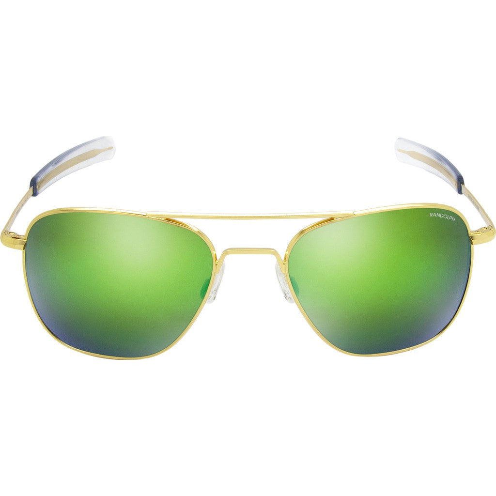 Randolph Engineering Aviator 23K Gold Sunglasses | Green Flash Mirror Glass Bayonet 55MM AF51667