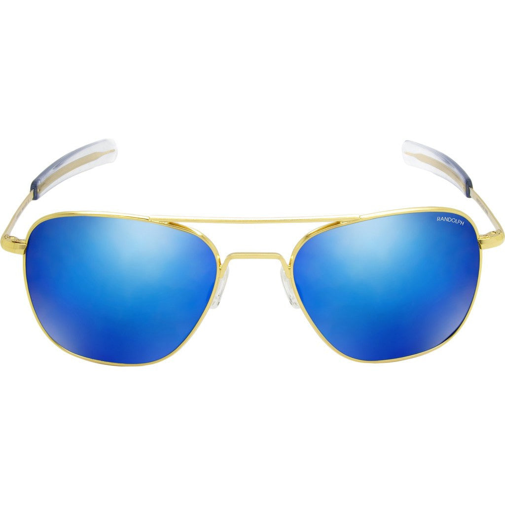Randolph Engineering Aviator 23K Gold Sunglasses | Blue Flash Mirror Glass Bayonet 55MM AF51668