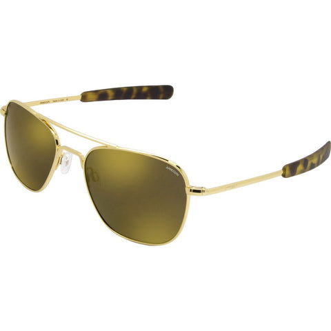 Randolph Engineering Aviator 23K Gold Sunglasses | Gold Flash Mirror Polarized Glass Bayonet 55MM AF51676