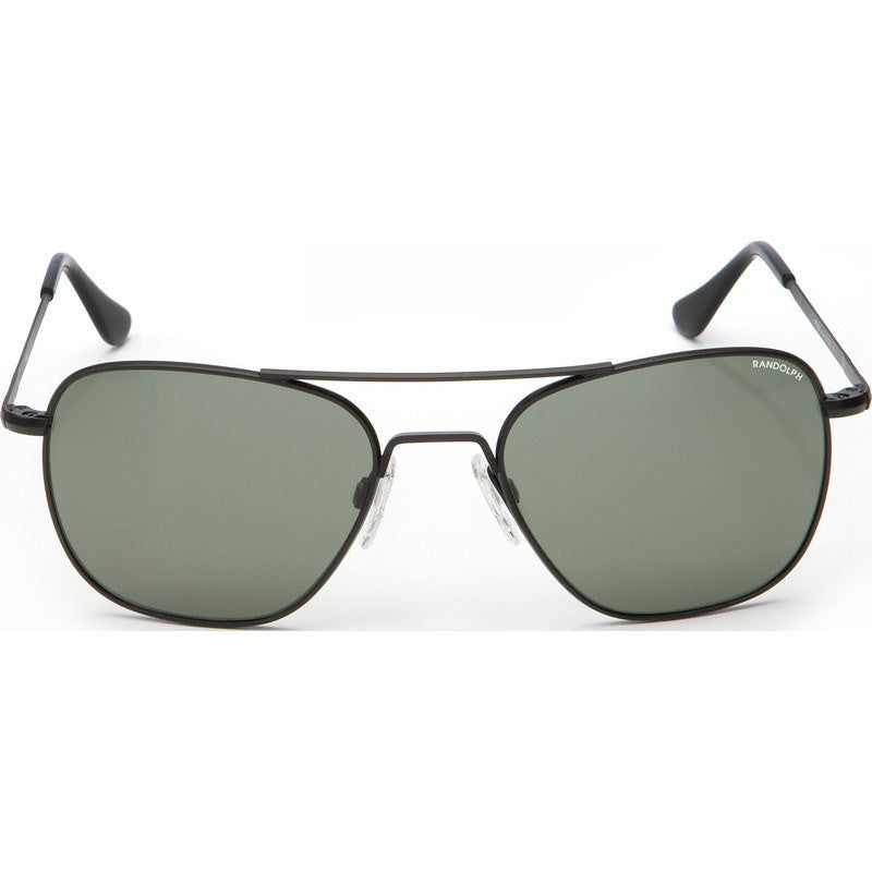 Randolph Engineering Aviator Matte Black Sunglasses | AGX Green Skull