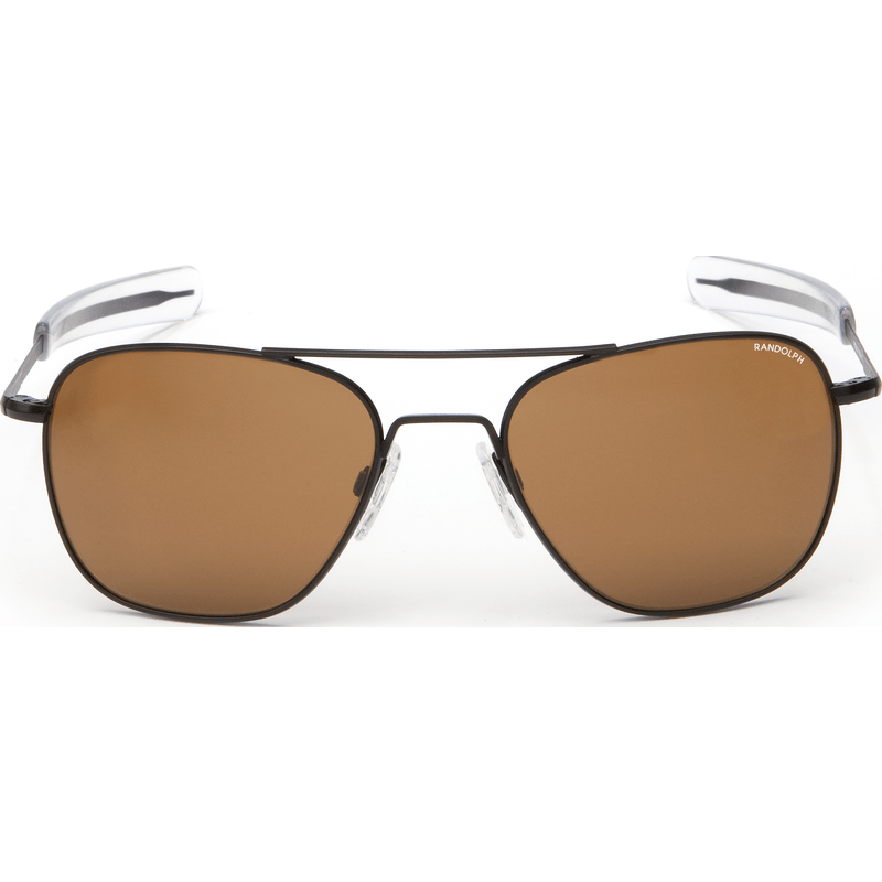 Randolph Engineering Aviator Matte Black Sunglasses | Tan PC Bayonet 55MM AF52612-PC