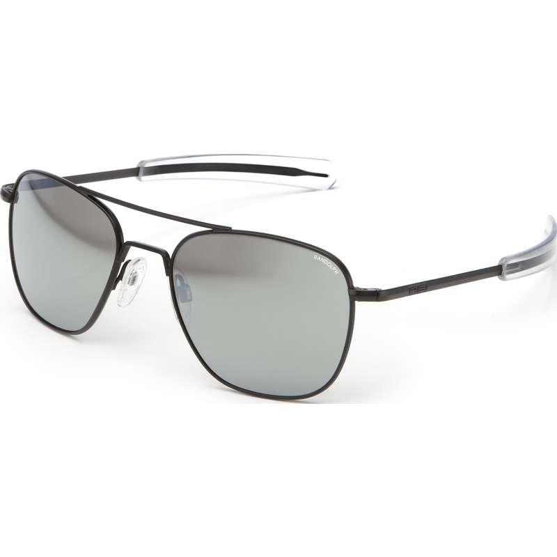 Randolph Engineering Aviator Matte Black Sunglasses | Gray Flash Mirror Glass Bayonet 55MM AF52663