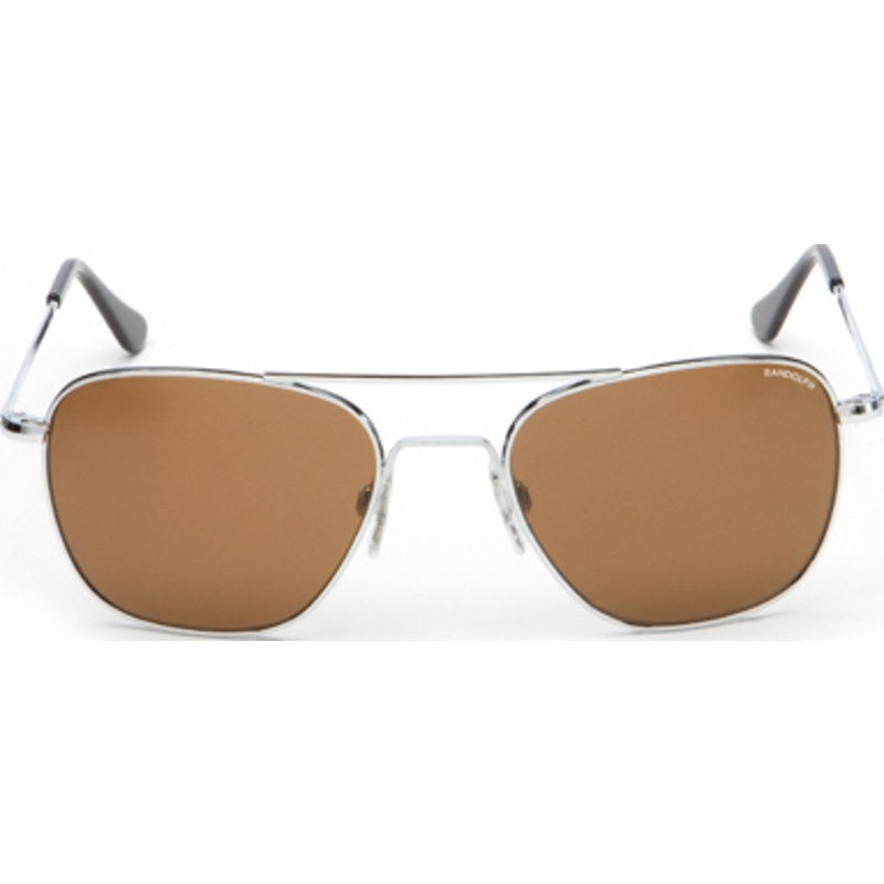 Randolph Engineering Aviator Bright Chrome Sunglasses | Tan Polarized Skull