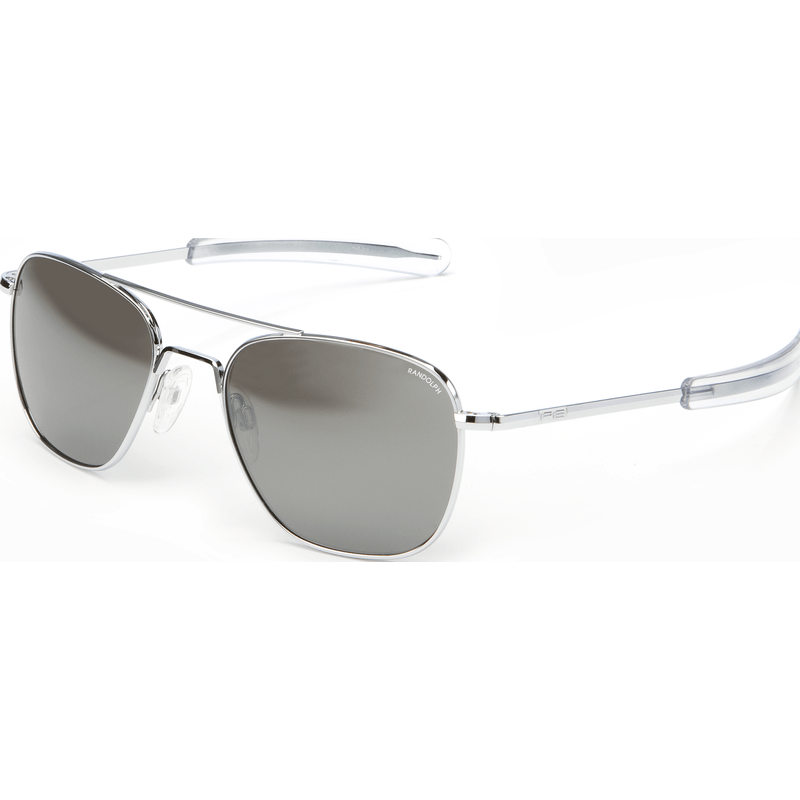 Randolph Engineering Aviator Bright Chrome Sunglasses | Gray Flash Mirror Glass Bayonet 55MM AF53663