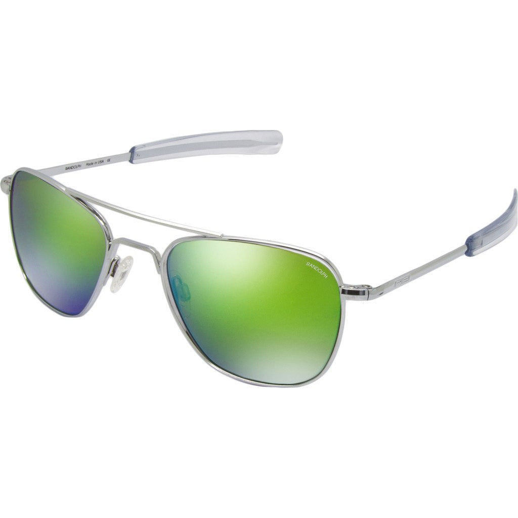 Randolph Engineering Aviator Bright Chrome Sunglasses | Green Flash Mirror Glass Bayonet 55MM AF53667
