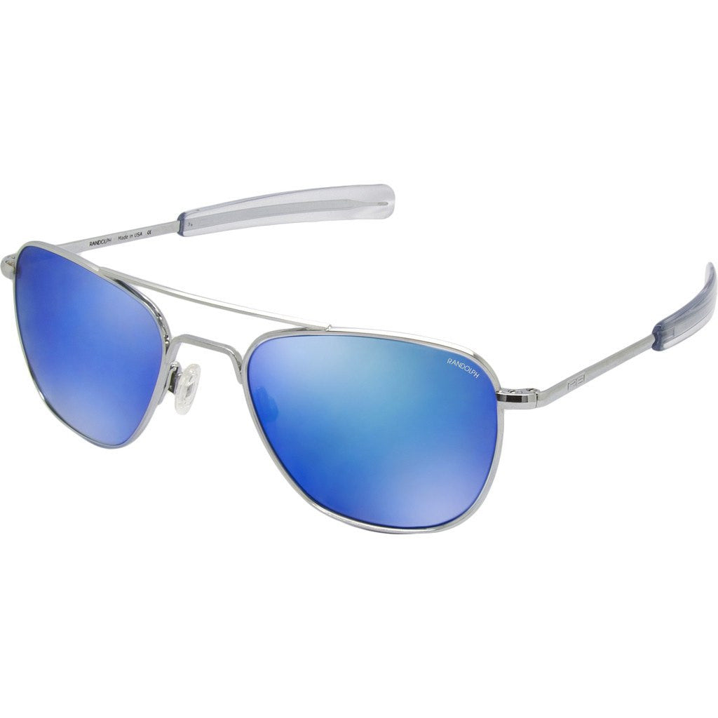Randolph Engineering Aviator Bright Chrome Sunglasses | Blue Flash Mirror Glass Bayonet 55MM AF53668