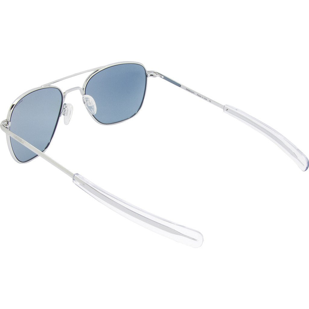Randolph Engineering Aviator Bright Chrome Sunglasses | Blue Hydro Glass Bayonet 55MM AF53674