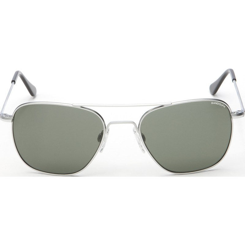 Randolph Engineering Aviator Matte Chrome Sunglasses | AGX Green Skull