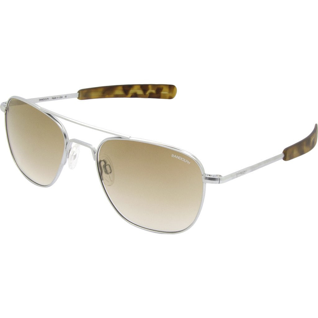 Randolph Engineering Aviator Matte Chrome Sunglasses | Tan Gradient Glass Bayonet 55MM AF54604