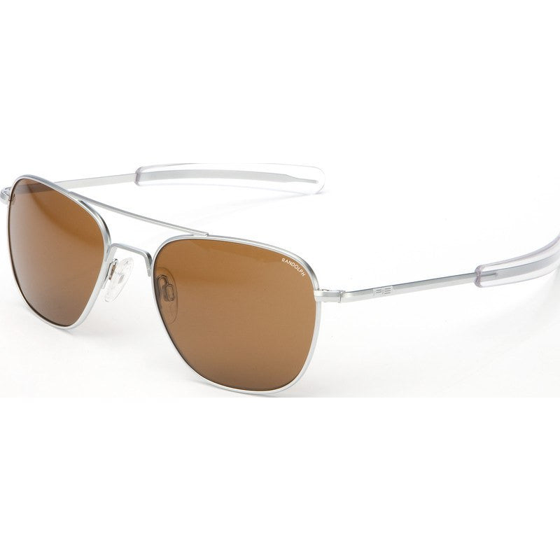 Randolph Engineering Aviator Matte Chrome Sunglasses | Tan Polarized Bayonet