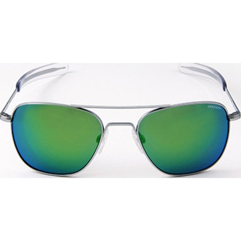 Randolph Engineering Aviator Matte Chrome Sunglasses | Green Flash PC Bayonet
