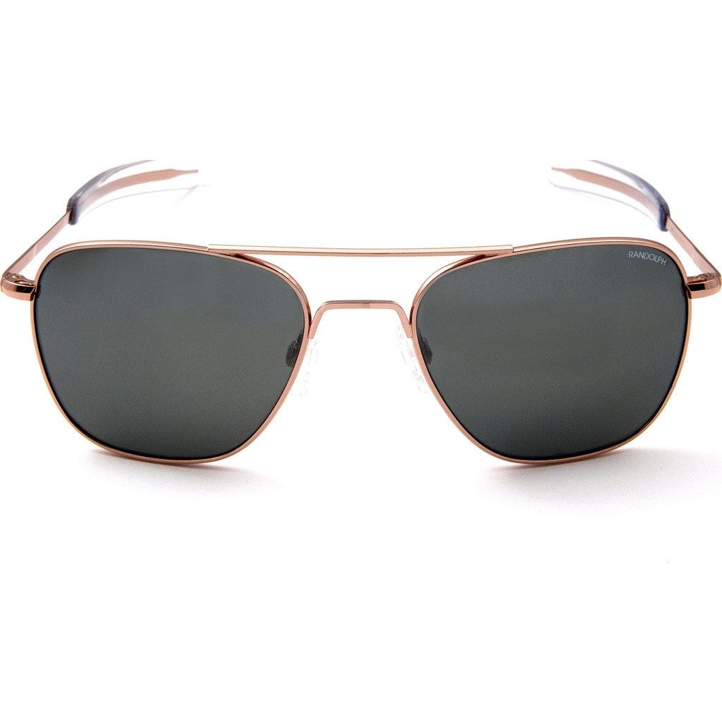 Randolph Engineering Aviator Rose Gold Plated Sunglasses | AGX Glass Bayonet 55MM AF55614