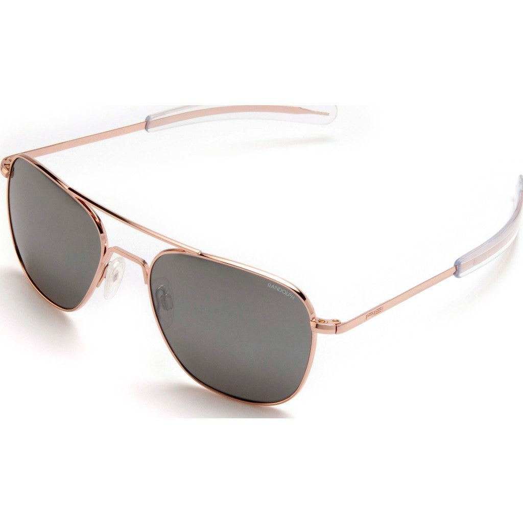 Randolph Engineering Aviator Rose Gold Plated Sunglasses | Gray Flash Mirror Bayonet