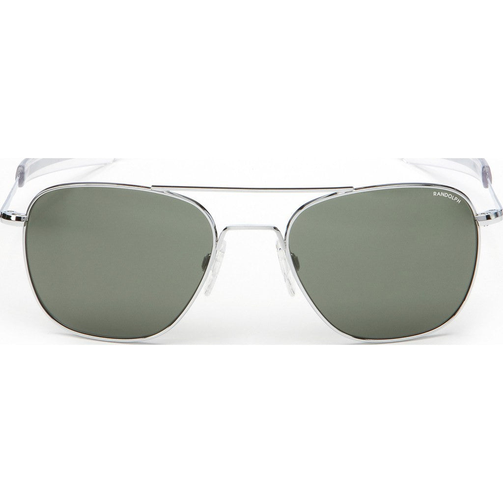 Randolph Engineering Aviator 23K White Gold Plated Sunglasses | AGX Polarized Glass Bayonet