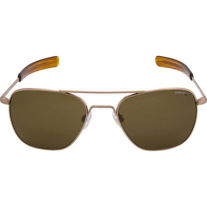 Randolph Engineering Aviator Rose Gold Satin Sunglasses | Tan Polarized Glass Bayonet