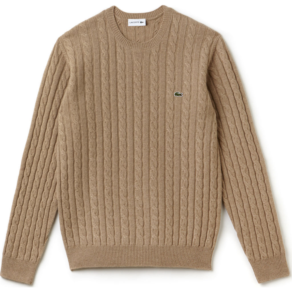 Lacoste Cable Knit Men S Wool Sweater In Renaissance Clair